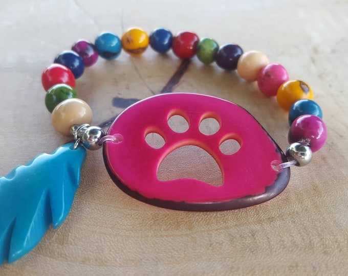 Tagua nut& acai bracelets/dog paw/pet memorial/ paw bracelet/ gift ideas/over the rainbow/bracelets for a cause/charity gifts/dog lover gift