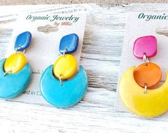 Playful eco-friendly geometric tagua earrings  color-block happy combinations/by Allie