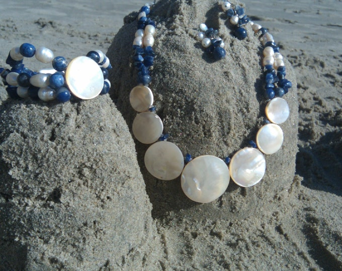 Mother pearl necklace/ statement necklace/ 3PC /mothers day gift/gifts for mom/ custom made jewelry/ handmade jewelry/