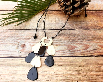 Tagua black and white minimalist  pendant with waterfall/ Eco friendly gifts/Gifts for her/Tagua medallion bohemian light weight necklace