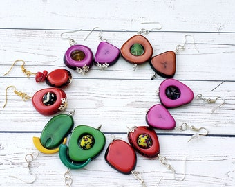 Mistmached Colorful Dangle Earrings/ Tagua nut Earrings / Ethnic Boho Earrings/Eco Friendly Earrings/ Everyday Earrings/ Drop earrings