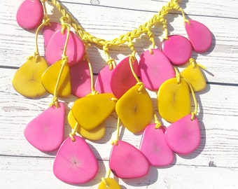 Waterfall tagua necklace/ dainty petals or small rings/ statement necklaces/ hand made jewelry by Allie