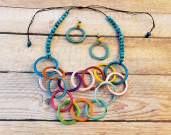 Chain bib RINGS tagua necklace/ chunky necklace/tagua jewelry/statement necklace/infinity necklace/RAINBOW NECKLACE