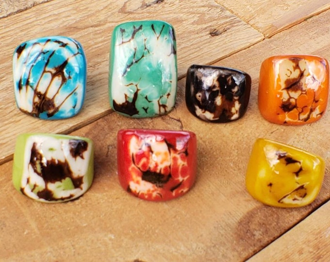 Tagua nut SIZE 8 Glossy rustic rings semi peeled nut