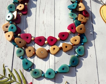 Chantal multilayered long tagua necklace/ avocado necklace/ colorful necklace/chunky necklace/statement necklace/by by Allie