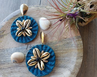 Rattan teal Earrings/Statement straw earrings/Woven disks teal earrings/ Wicker Earrings/ Rattan gold OOAK earrings/Summer earrings