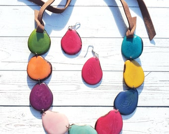 ISADORA necklace tagua nut jewelry/ colorful necklace/ statement but minimal necklace