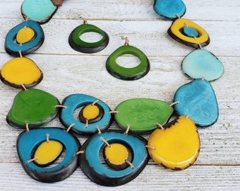 Tagua nut multicolor bib tagua necklace/ beach jewelry/San Diego Necklace by Allie