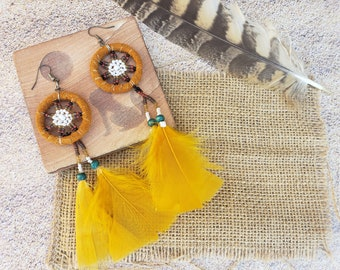Dream Catcher feathers earrings/ Native American Indian Earrings/ Boho Earrings/Macrame earrings/Southwest Ethnic Earrings/Hippie Earrings