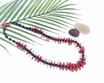 Tagua Chunky red black necklace/ Teal aqua necklace/ Blue chunky necklace/Statement Ecofriendly necklace/ Ethical beads/Slow fashion jewelry