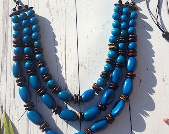 Turquoise layered long necklace/ statement necklace/ tagua necklace/ bold necklace/gift ideas