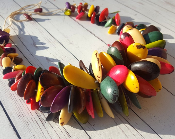 "As seen on the Runway Tagua multicolor necklace by Allie ""Tropical princess""/bold necklace/statement necklace/ chunky necklace/costume jewel"