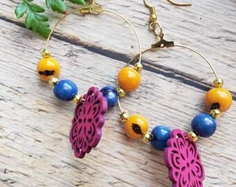 Flowers organic earrings/Ecojewels/ Large hoop earrings/Big Hoop earrings/Whimsical nature jewelry/Acai wood earrings/ Colorful hoops