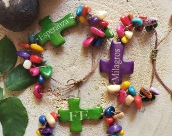 Cross tagua bracelet/Christian bracelets/Inspirational bracelet/Catholic jewelry/Spiritual jewelry /Faith Bracelets/ Religious Gifts