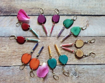 Colorful Earrings/ Long Tassels & Tagua Earrings / drop earrings/ Bohemian Earrings/Eco Friendly Earrings/Teal/ Turquoise/ Orange  Earrings
