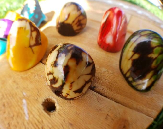 Tagua nut SIZE 5.5  Glossy rings semi peeled nut/tagua rings/many colors