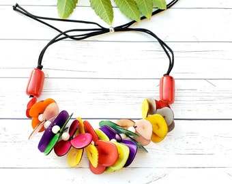 Maui tagua chunky  statement necklace many colors by Allie