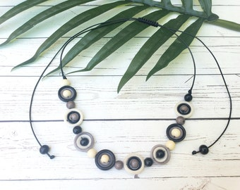 Tagua minimalist circles choker/Tagua black& white choker/Gifts for her/Eco Friendly gifts for her/Tagua geometric  nested circles choker