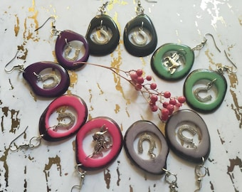 Horse shoe Tagua Earrings gift for horse lovers/Rodeo Ranch Cowgirl horse jewelry/Western jewelry/ Ranch horse jewelry/ pet sympathy gift