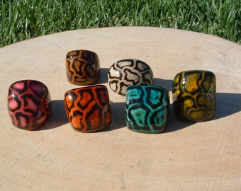 Tagua animal print ring SIZE 7/ Leopard Rings /Hand painted Rings/ Wooden Rings/ Statement Chunky Rings/ Organic Rings/ Ecofriendly Rings