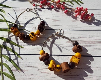 Eco friendly earrings/ Hoop big earrings/ Orange peel earrings/  Flower earrings/ Hippie Chic Earrings/ Yellow earrings/ by Allie