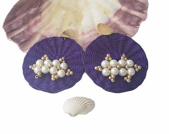 Statement OOAK  purple straw earrings / Rattan handmade earrings/ Wicker disks earrings/Summer pearls earrings/Beach ocean earrings