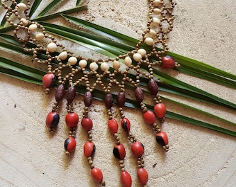 Waterfall necklace/ Red cascade Necklace/ Seeded necklace/ Rainforest Jewelry/ Ethnic necklace/ Amazonian necklace/ Boho jewel/Gift ideas