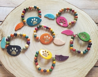 Paw Jewelry/ Paw tagua bracelets/Pet memorial jewel/ Dog lovers gift ideas/Over the rainbow jewelry/Gifts for charity/Dog cat memorial jewel