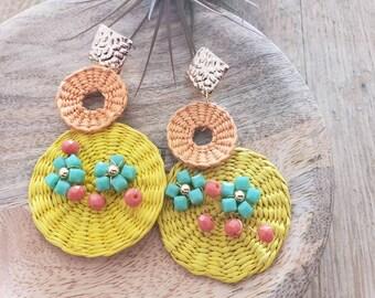 Statement straw big earrings/ Wicker Earrings/ Rattan yellow wire wrapped  earrings/Summer straw gold OOAK earrings