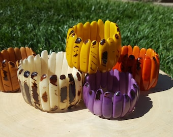 Palitos or sticks tagua bracelet/natural tagua marble/ by Allie /many colors/tagua jewelry/tagua stretch  bracelet
