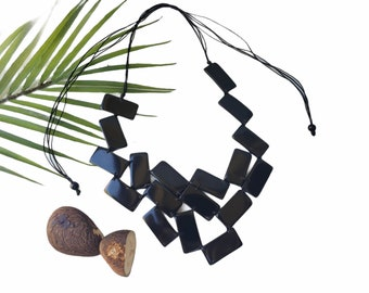 Wide bib big statement necklace/ Tagua black necklace/Art Deco Necklace/Modern necklace/Rectangles necklace/Asyimmetrical eco necklace