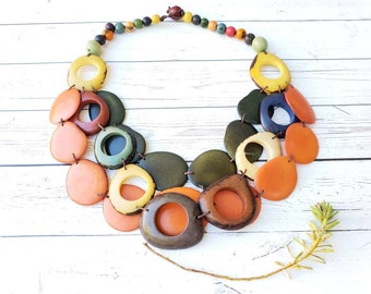 Tagua nut Necklace/ Layered long Statement necklace/Rustic Rings layered necklace/Chunky beaded Necklace/Multicolor necklace/Gifts for her