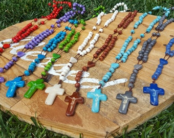 Unisex Tagua rosary necklace by Allie/tagua jewelry/tagua nut/ rosary/catholic rosary/communion favor