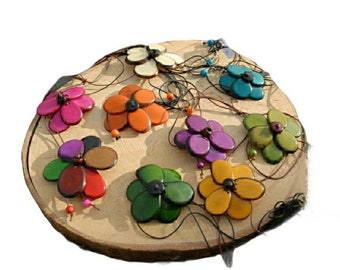 Tagua flower necklace/ Mutiwear jewelry/ Convertible flower necklace or bracelet / Tie flower necklace/ Bolo Necklace/ Colorful flower jewel