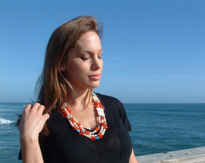 Pearl necklace/long necklace/ turquoise necklace/ chunky necklace/ statement jewelry/ handmade jewelry/ mothers day gift
