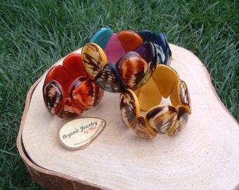Ergonomic Drops Bracelet/ Tagua rustic bracelet/ Tropical bracelets/ Stretch bracelet/Bold cuff/ Bohemian Bracelet/ Eco Friendly Bracelet/