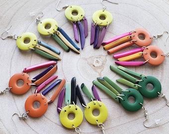 Colorful Dangle Earrings/ Tagua& wood Earrings / Boho Earrings/ Tribal Earrings/ Long earrings/ Yellow earrings/ Ecojewelry/Tiki earrings