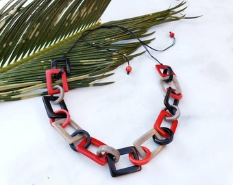 Chained red statement necklace/  Tagua necklace/ Red  and black chain necklace/Colorful chain set/Mothers Day Gifts/ Gifts for her