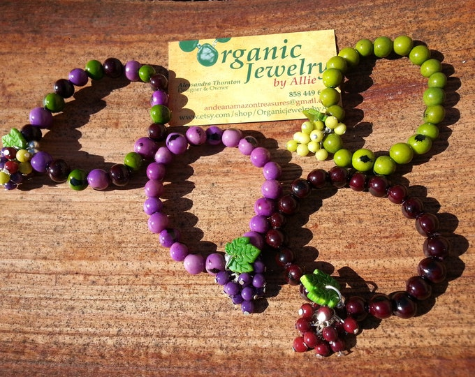 Sacred grapes strechy bracelets in tagua pearls and acai berries by Allie/grapes jewelry/wine lover jewelry/temecula wine county jewelry