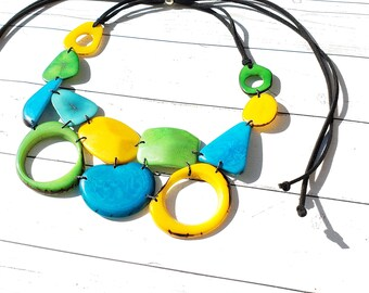 Geometrical tagua bib by Allie/ striking colors/ summer jewels/winter berry necklace/statement necklace/eco friendly jewel