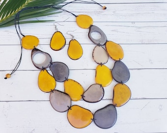 Tagua yellow and gray long layered necklace/ Statement yellow necklace/ Long bold bohemian chic necklace/Tagua Handmade necklace/ gift ideas