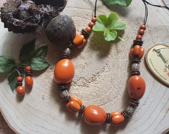Tagua chunky long necklace/ Beaded  full nuts necklace/ Tagua jewelry sets /Eco friendly jewelry/ Orange necklace/ Rustic Beach COCO jewelry