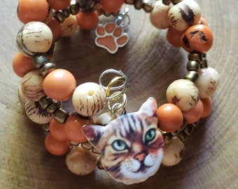 Cat mom gifts/ Cat lovers jewelry/ Kitty Bracelets/Cat jewelry/Wire Wrapped stacked acai bracelet/Jewelry for cat lovers/Cat lady gifts