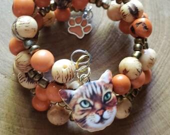 Cat mom gifts/ Bracelet for cat lovers/ Kitty Bracelets/Cat jewelry/Wire Wraped cat acai bracelet/Jewelry for cat lovers/Cat lady gifts