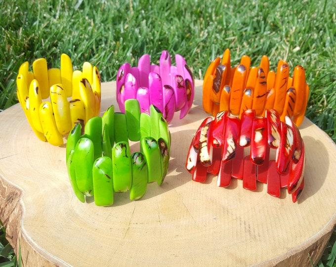Tagua nut bracelet/tagua jewelry/claw bracelet/tagua glossy bracelet/assorted colors