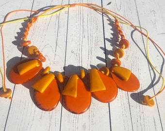 Tagua nut color block necklace/ bold necklace/ colorful necklace/handmade necklace by Allie