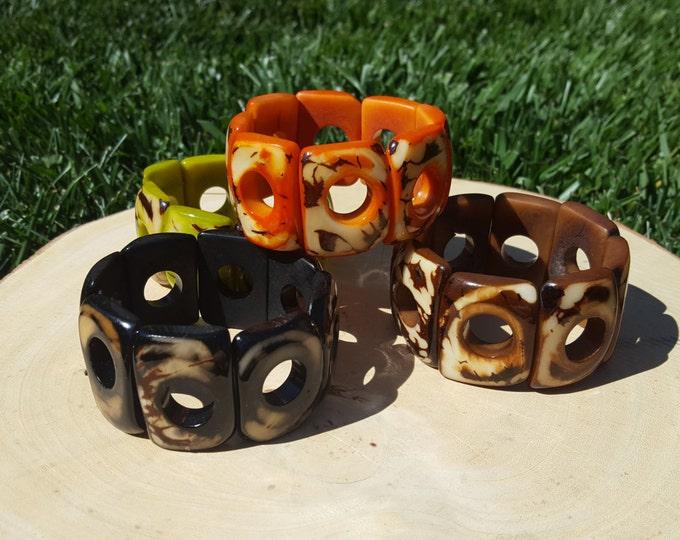 Geometric tagua bracelet ,hollow marble squares bracelet by Allie /many colors/tagua jewelry/tagua stretch  bracelet