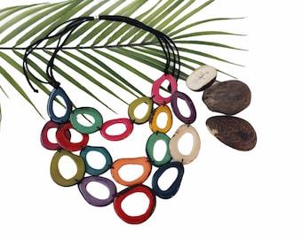 Tagua Aqua blue necklace/ Rainbow Necklace/ Layered tagua long necklace/ Beach jewelry/ Statement necklace bib style/Eco friendly jewelry