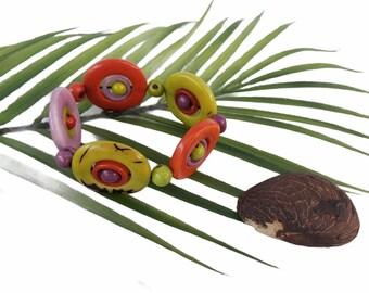 Tagua colorful bracelets/ Circles bracelet/ Geometric bracelet/ Interlinked Circles bracelets/ Mod Statement stretchy bracelet/