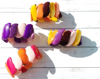 Ergonomic tagua S shaped nut curvy bracelets/chunky bracelet/stretchy bracelets/ mod bracelets